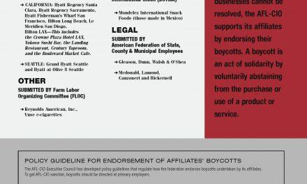 Don't Buy | November December 2020 | AFL-CIO Official Boycott List